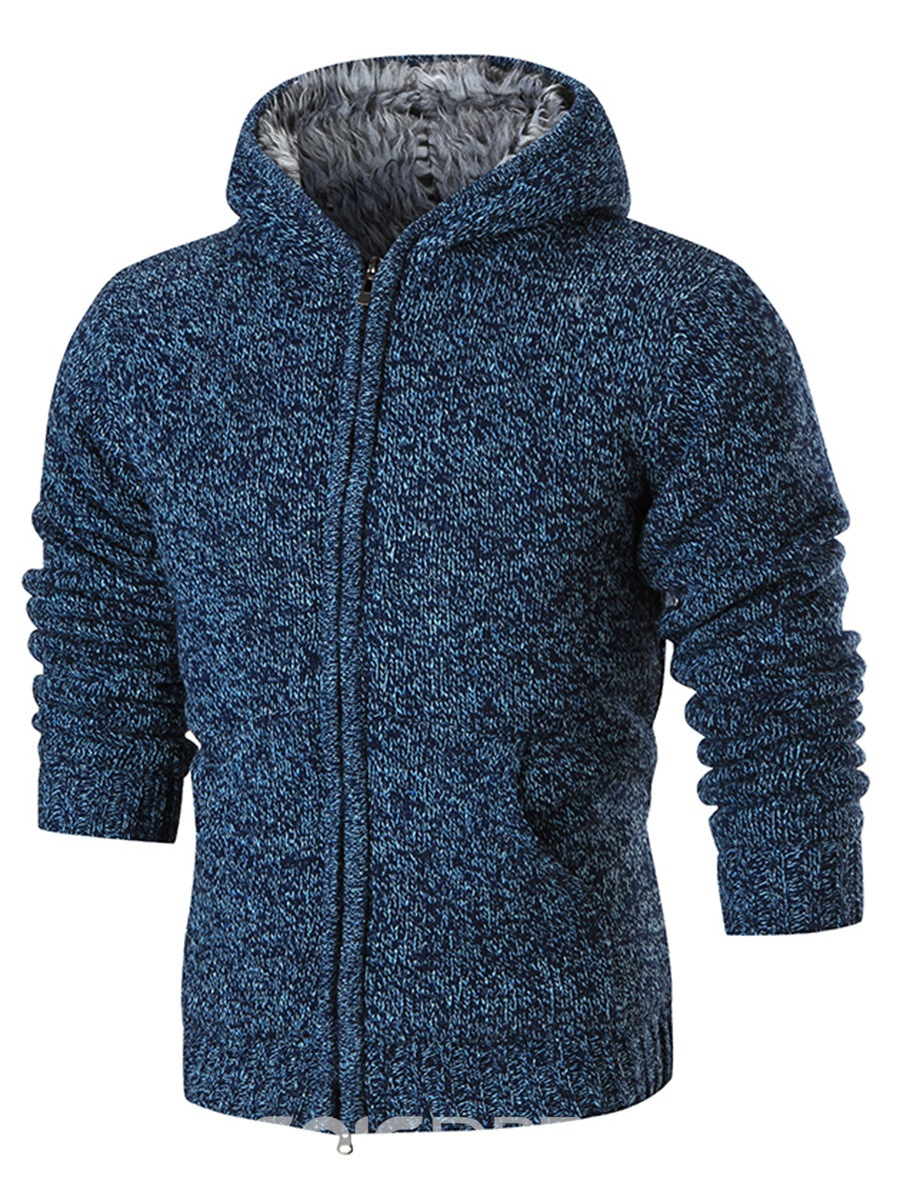 Ericdress Plain Hooded Thicken Warm Men's Cardigan Sweater