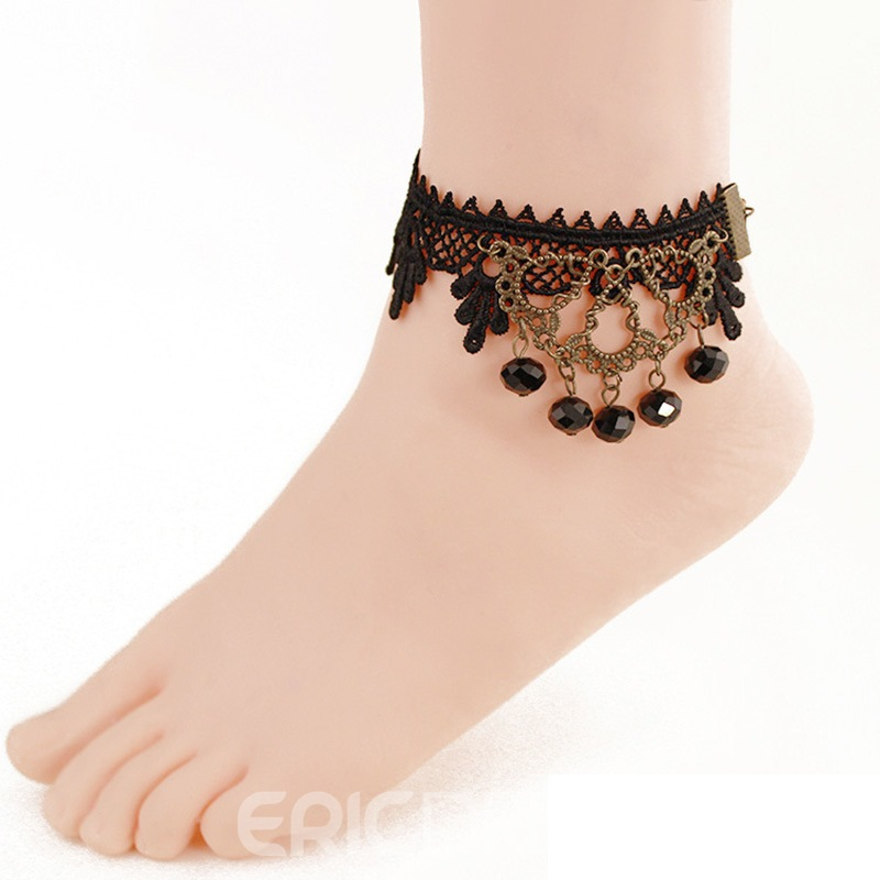 Ericdress Sexy Black Lace Tassel Anklet for Women