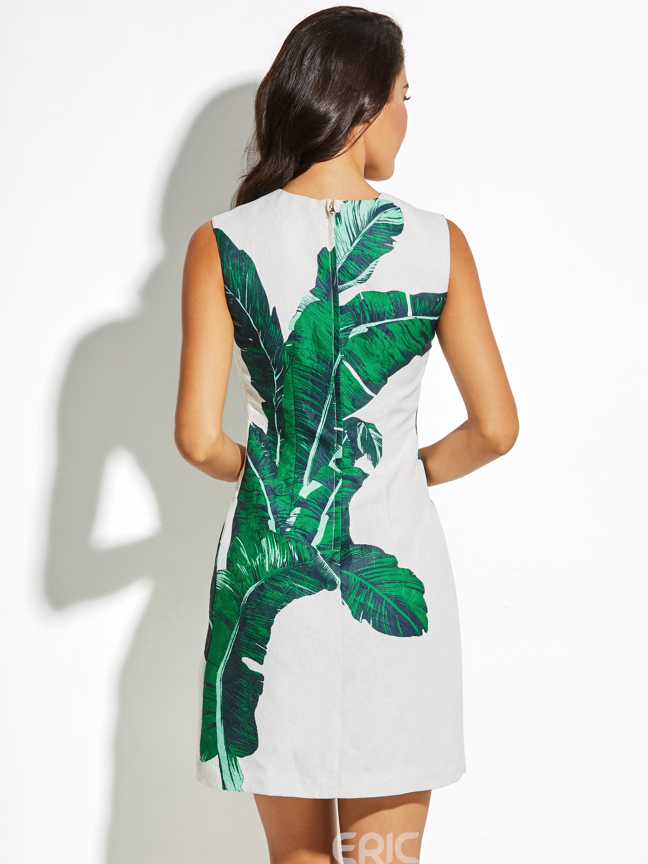 Ericdress Greenery Leaves Printed Sleeveless Women's A Line Day Dress