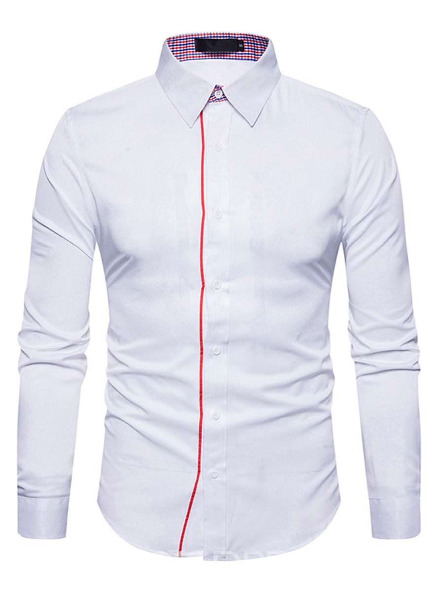 Ericdress Plain Lapel Single-Breasted Casual Slim Men's Shirt