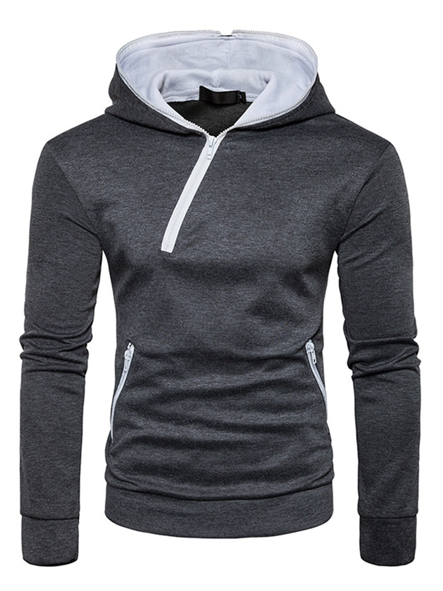 Ericdress Plain Hooded Cotton Casual Slim Men's Hoodie