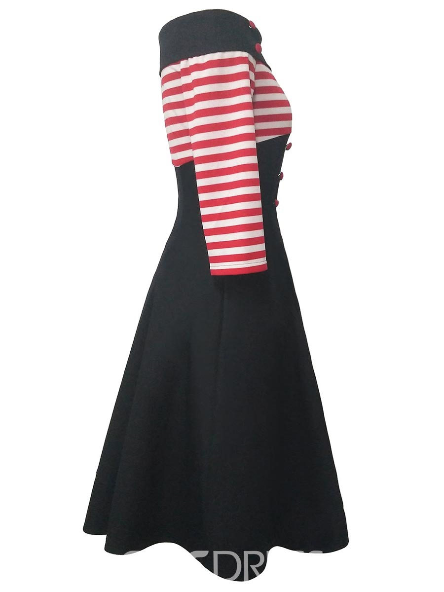 Ericdress Vertical Striped Half SleevesOff-the-Shoulder A Line Dress