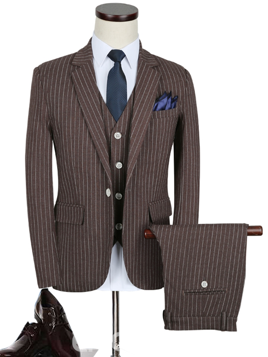 Ericdress Business Stipe Notched Lapel Three-Piece Slim Men's Suit