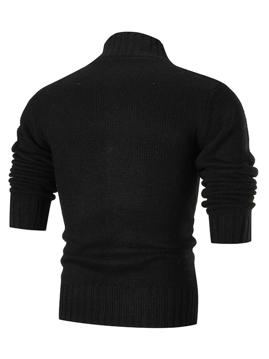 Ericdress Plain Stand Collar Single-Breasted Men's Cardigan Sweater
