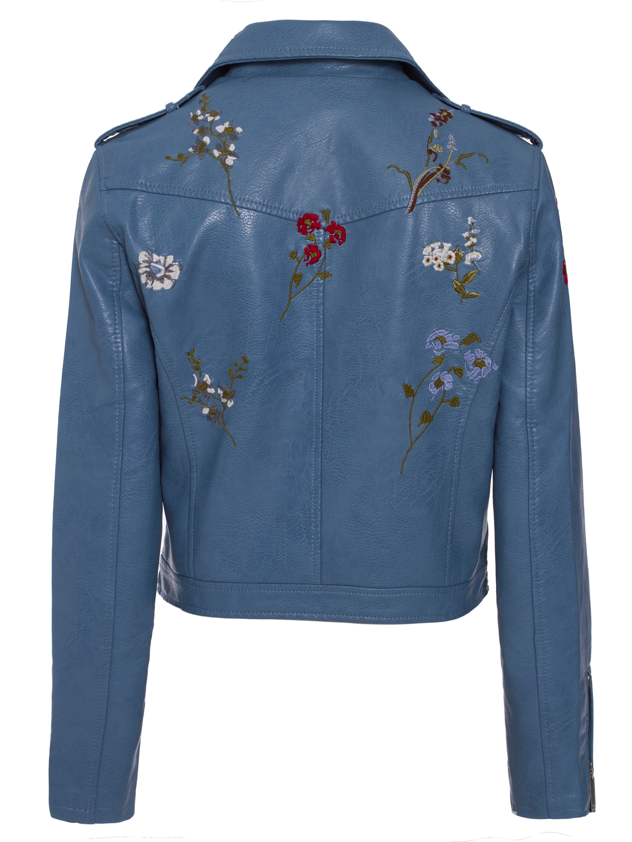 Ericdress Slim Floral Embroideried Epaulet PU Jacket