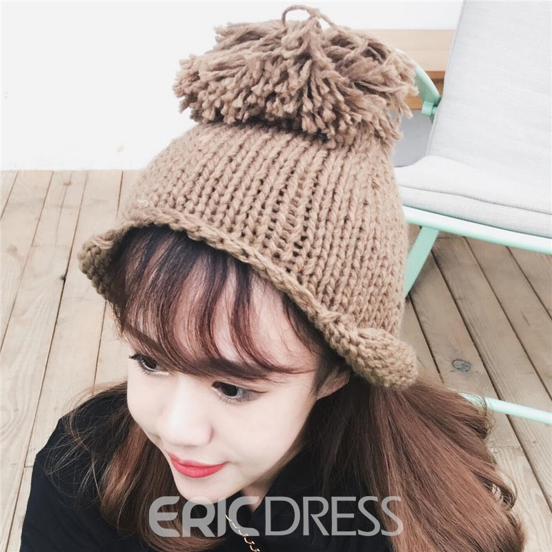 Ericdress 2017 New Style Soild Color Knitting Big Ball Fashionable Hat