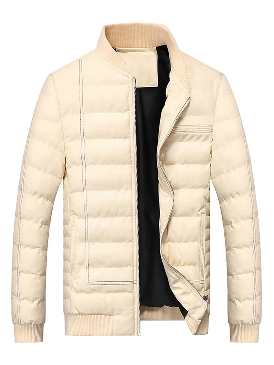 Ericdress Plain Stand Collar Thicken Warm PU Men's Winter Coat