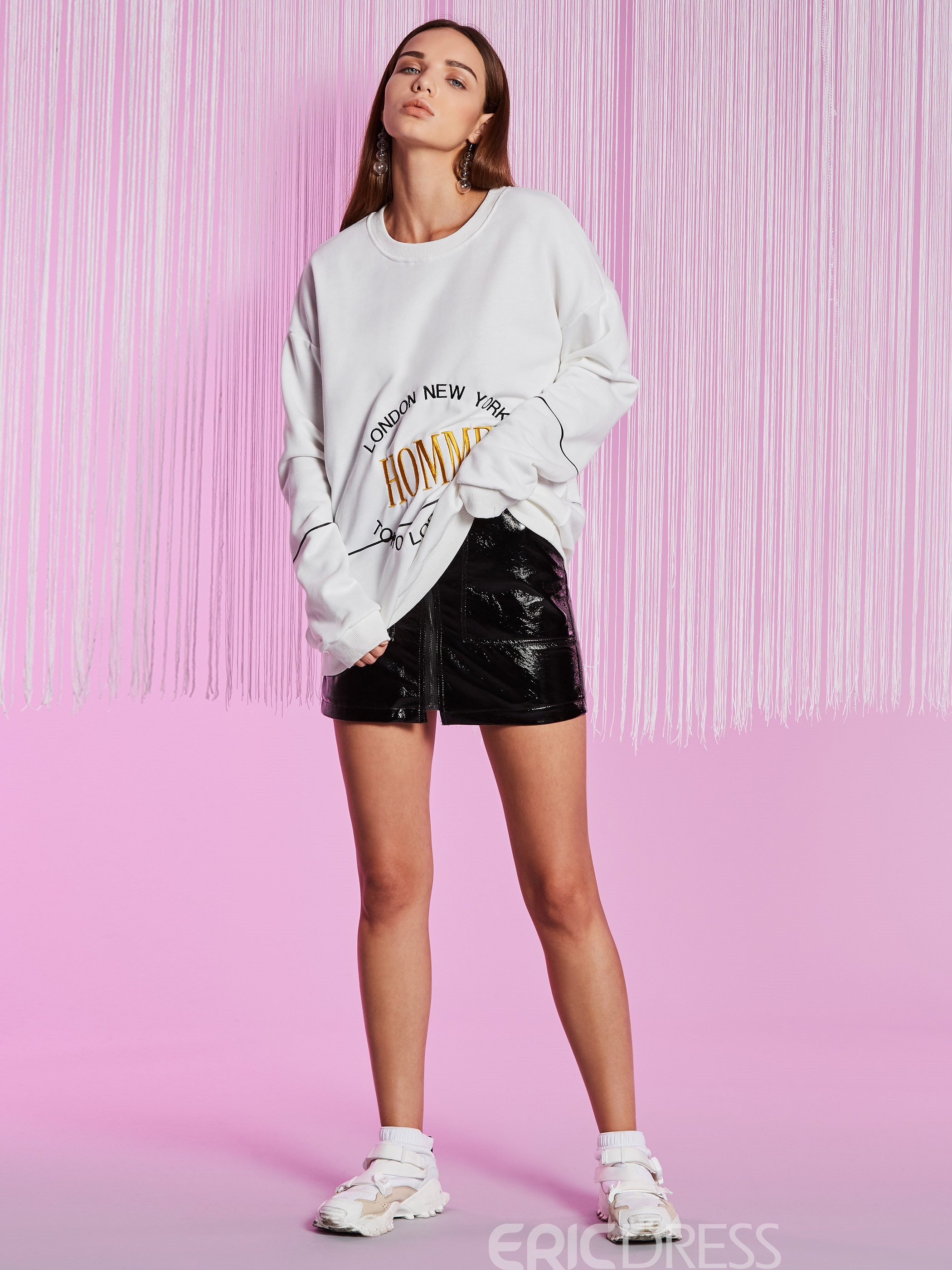 Ericdress Round Neck Letter Embroideried Hoodie