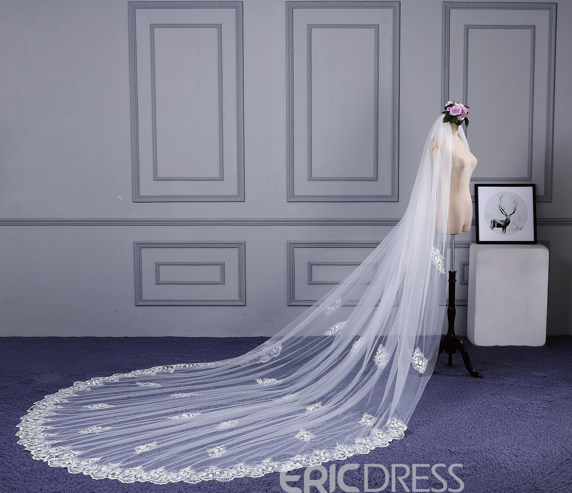 Ericdress High Quality Appliques Long Wedding Veil