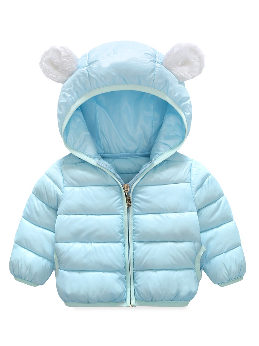 Ericdress Little Ear Hoodie Plain Baby Boys And Girls Cotton Coat