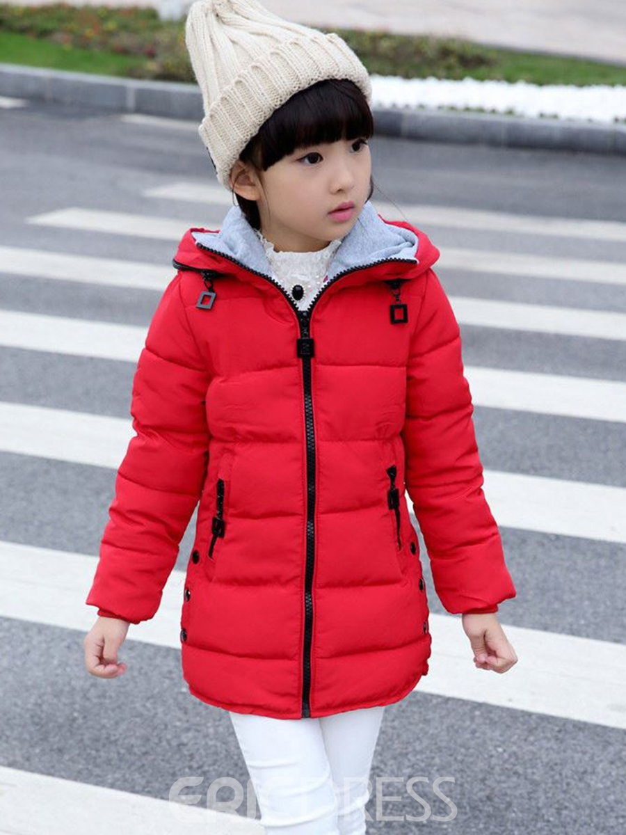 Ericdress Fashion Plain Hooded Thicken Winter Cotton-Padded Girls Outerwear