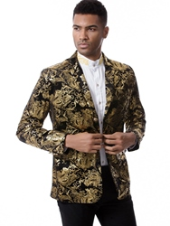 Ericdress Floral Print Notched Lapel Vogue Slim Mens Blazer