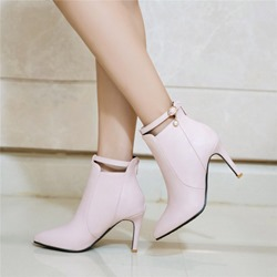 Ericdress Plain Buckle Pointed Toe Stiletto Heel Boots with Beads фото
