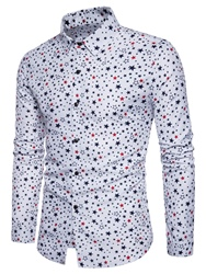 Ericdress Print Lapel Single-Breasted Vogue Slim Mens Shirt