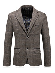 Ericdress Plain Plaid Notched Lapel Single-Breasted Slim Mens Blazer