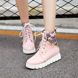 Ericdress Sweet Camouflage Lace-Up Ankle Boots