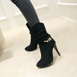 Ericdress Buckle Rhinestone Plain High Heel Boots
