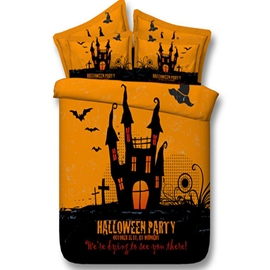 3D Mysterious Halloween Castle Printed Cotton 4-Piece Bedding Sets/Duvet Covers