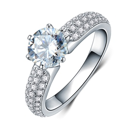 MarkChic Shining Round Cut Fully-Jewelled Women's Wedding Ring