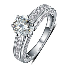 MarkChic High Quality S925 Sterling Silver 1CT Wedding Ring