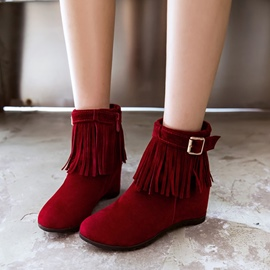 Ericdress Tassel Plain Round Toe Ankle Boots with Buckle