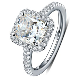 MarkChic High End Radiant Cut White Sapphire Created Wedding Ring for Women