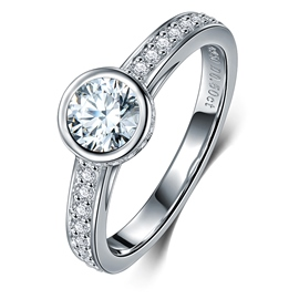 MarkChic S925 Sterling Round Cut Classic Wedding Ring