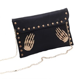 Ericdress Personality Skull Rivet Decoration Chain Clutch