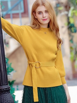 Ericdress Plain Belt Lantern Sleeve Knitwear