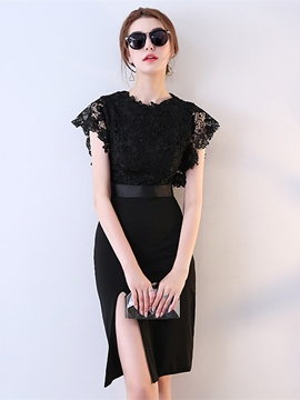 Ericdress Sheath Cap Sleeve Lace Short Cocktail Dress With Slit