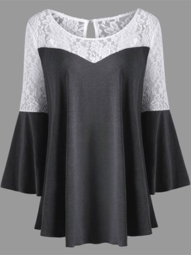 Ericdress Patchwork Lace Mid-Length Flare Sleeve T-shirt