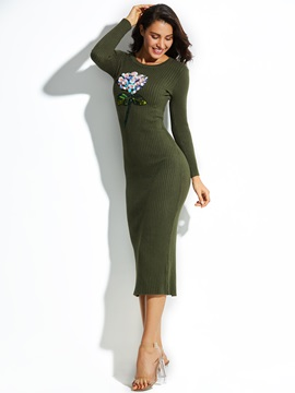 Ericdress Long Sleeve Sequin Flocking Plain Sweater Dress