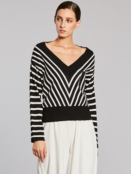 Ericdress V-Neck Stripe Pocket Knitwear