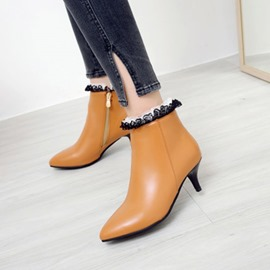 Ericdress Lace Patchwork Plain Kitten Heel Ankle Boots