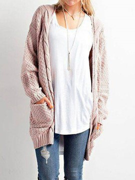 Ericdress Loose Mid-Length Pocket Cardigan Knitwear