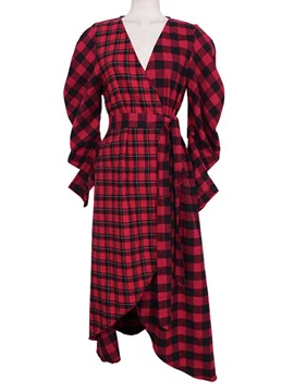 Ericdress Plaid V-Neck Asymmetrical Shirt Dress