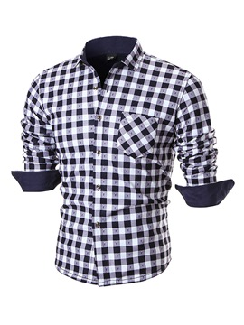Ericdress Velvet Plaid Long Sleeve Casual Men's Shirt