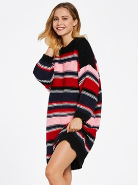 Ericdress Color Block Stripe Knee-Length Sweater Dress