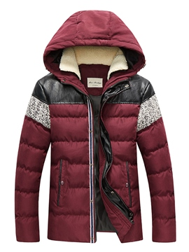 Ericdress Patchwork Hooded Down Thicken Warm Slim Men's Winter Coat