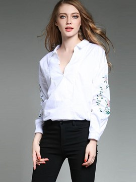 Ericdress Loose V-Neck Embroidery Blouse