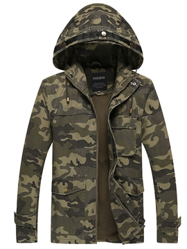 Ericdress Hooded Camouflage Zip Cotton Slim Winter Men's Jacket