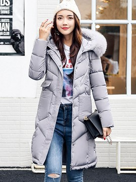 Ericdress Pocket Thick Mid-Length Fur Down Coat