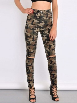 Ericdress Camouflage High-Waist Slim Women's Ripped Jeans