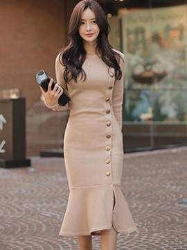 Ericdress Ruffles Button Mermaid Long Sleeve Dress