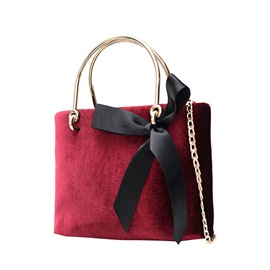 Ericdress Chic Bowtie Velvet Chain Women Handbag