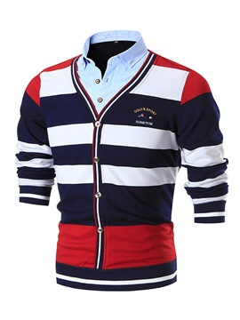 Ericdress Double-Breasted Cardigan Color Block Stripe Men's Sweater