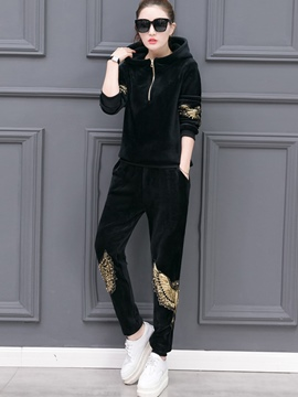 Ericdress Thick Embroidery Hooded Hoodie and Pants Women's Winter Suit