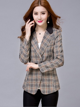 Ericdress Houndstooth Slim Pocket Blazer