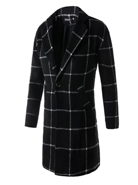 Ericdress Lapel Plaid One Button Vogue Slim Men's Woolen Coat