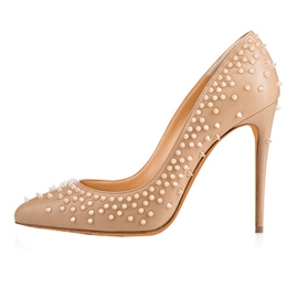 Ericdress Nude Rivet Slip-On Stiletto Heel Pumps